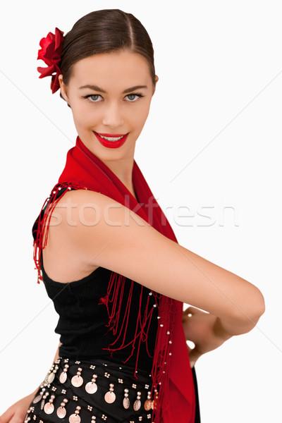 Vista lateral mujer sonriente blanco bailarín rendimiento fondo blanco Foto stock © wavebreak_media