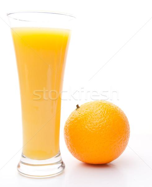 Stockfoto: Oranje · glas · sinaasappelsap · witte · achtergrond · eten