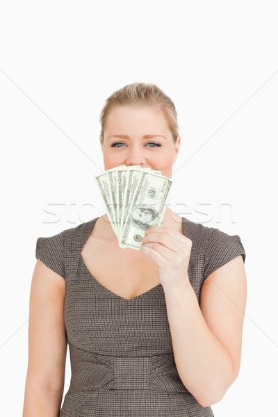 きれいな女性 隠蔽 マウス ドル 白 ストックフォト © wavebreak_media