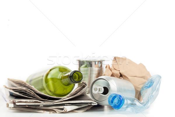 Recyklingu materiały biały szkła niebieski czyste Zdjęcia stock © wavebreak_media