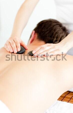 Mulher cabelos longos tocante ombro beleza feminino Foto stock © wavebreak_media
