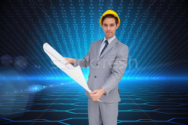 Composite image of serious architect with hard hat holding plans Stock photo © wavebreak_media