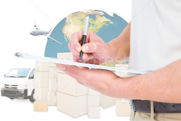 Composite image of delivery man writing on clipboard  Stock photo © wavebreak_media