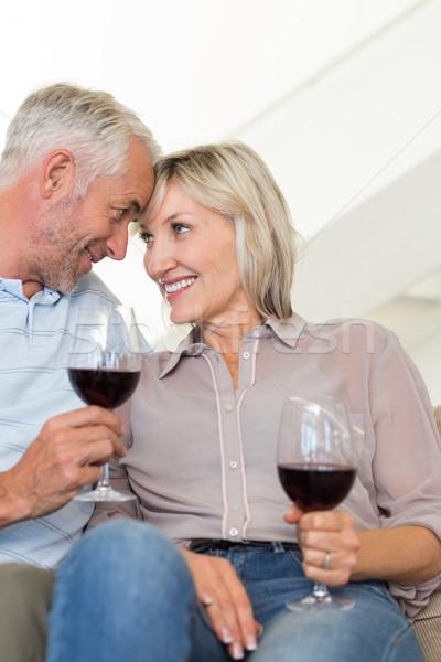улыбаясь зрелый пару Бокалы сидят диван Сток-фото © wavebreak_media