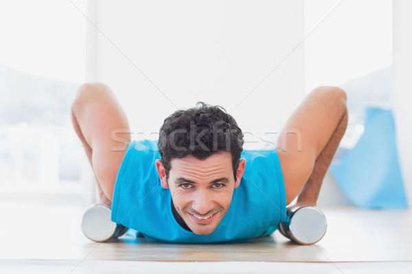 человека гантели фитнес студию портрет Сток-фото © wavebreak_media