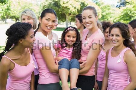Wolontariusze dziewczyna rak piersi kampania szczęśliwy Zdjęcia stock © wavebreak_media