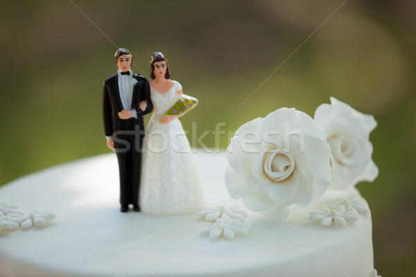 Close-up of figurine couple on wedding cake Stock photo © wavebreak_media