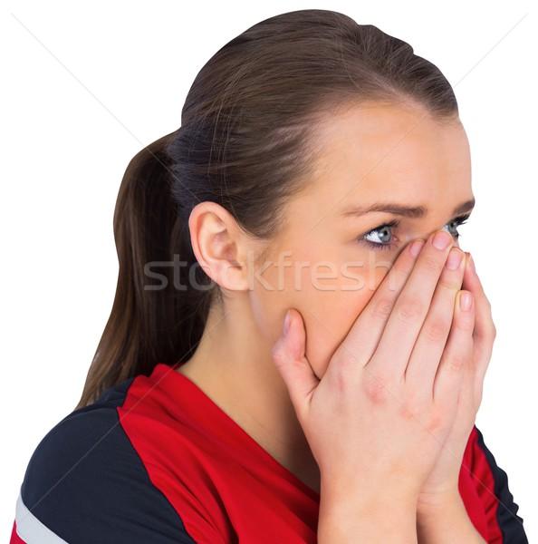 нервный футбола вентилятор красный белый спорт Сток-фото © wavebreak_media
