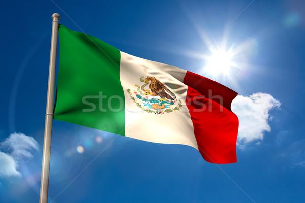 Mexico vlag vlaggestok blauwe hemel zon licht Stockfoto © wavebreak_media