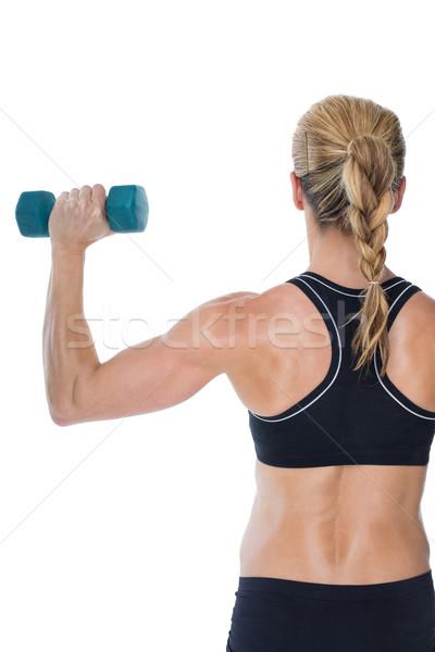 Feminino musculação azul branco Foto stock © wavebreak_media