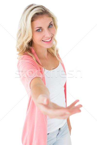 Dość młodych oferowanie strony biały Zdjęcia stock © wavebreak_media