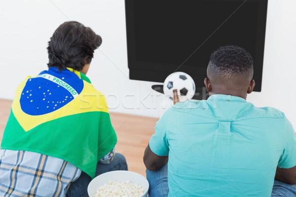Calcio tifosi guardare tv vista posteriore due Foto d'archivio © wavebreak_media