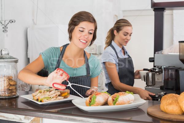 Güzel çalışma gülümseme kahvehane iş gıda Stok fotoğraf © wavebreak_media
