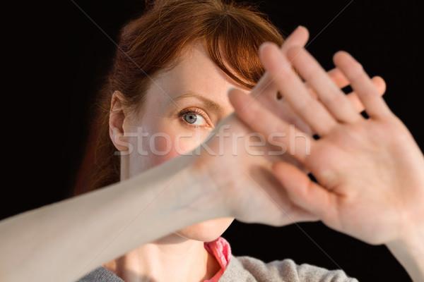 Peur femme visage noir Homme douleur Photo stock © wavebreak_media