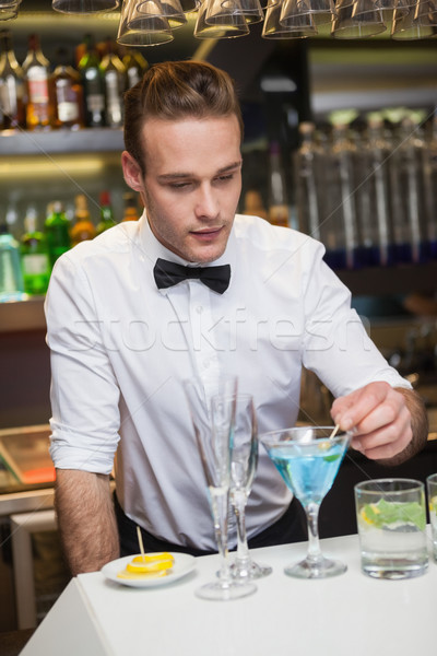 Stockfoto: Barman · drinken · bar · counter · gelukkig · shirt