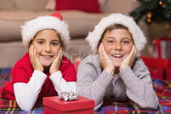 Sorridere fratello sorella coprire home soggiorno Foto d'archivio © wavebreak_media