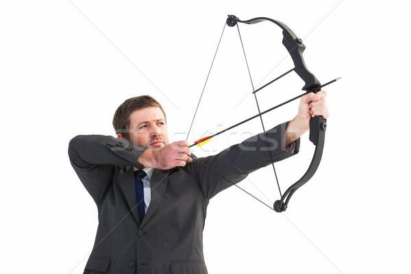 Fókuszált üzletember lövöldözés íj nyíl fehér Stock fotó © wavebreak_media