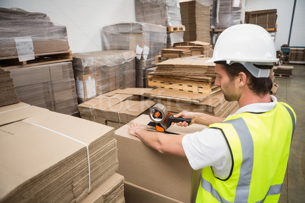 Raktár munkás szállítmány nagy üzlet doboz Stock fotó © wavebreak_media