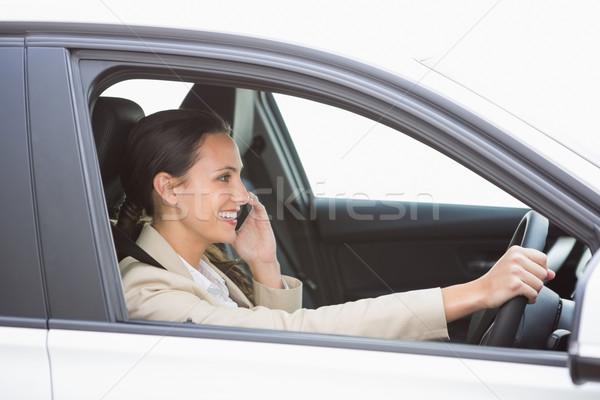 Stockfoto: Gelukkig · zakenvrouw · telefoon · auto · business · venster