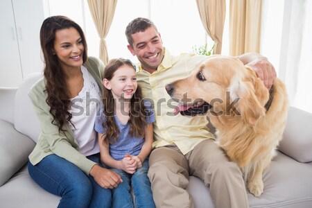 Rodziny domowych żółty labrador dywan domu Zdjęcia stock © wavebreak_media