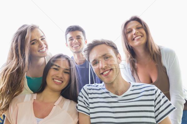 Boldog diákok mosolyog kamera kívül kampusz Stock fotó © wavebreak_media
