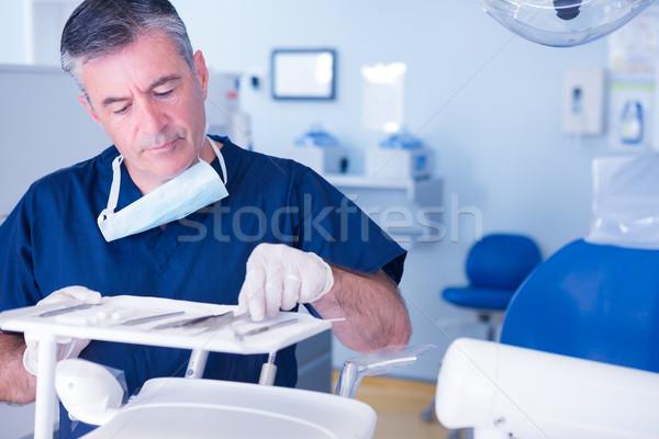 Fókuszált fogorvos szőlőszüret felfelé szerszám fogászati Stock fotó © wavebreak_media
