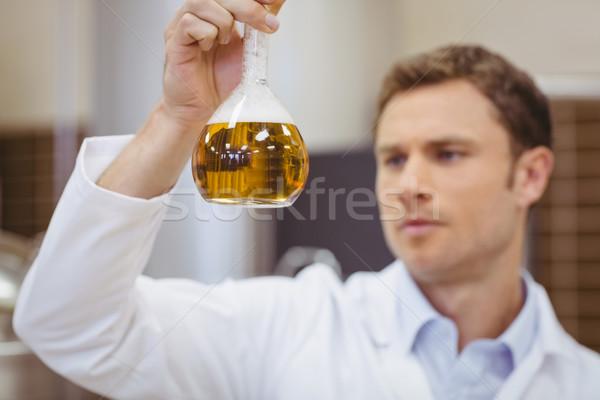 Stock fotó: Fókuszált · tudós · tart · főzőpohár · sör · gyár
