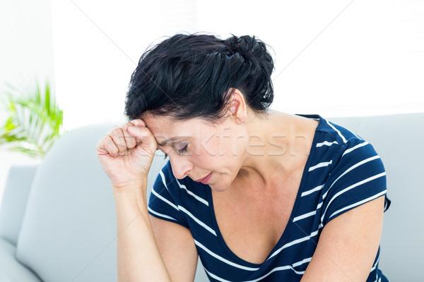 Сток-фото: несчастный · женщину · сидят · диване · белый · печально