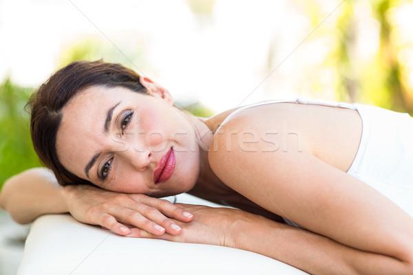 Calme femme massage table heureux Photo stock © wavebreak_media