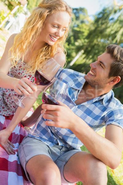Picknick drinken wijn vrouw Stockfoto © wavebreak_media