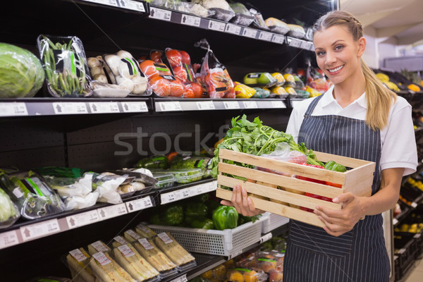 Stok fotoğraf: Güzel · kutuları · taze · sebze · süpermarket