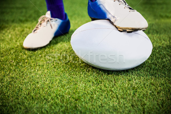 Rugby jugador posando pies pelota Foto stock © wavebreak_media
