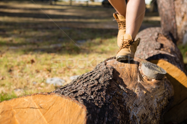 Woman walking on tree trunk in the park Stock photo © wavebreak_media