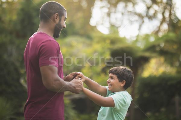 Vader zoon genieten park familie Stockfoto © wavebreak_media
