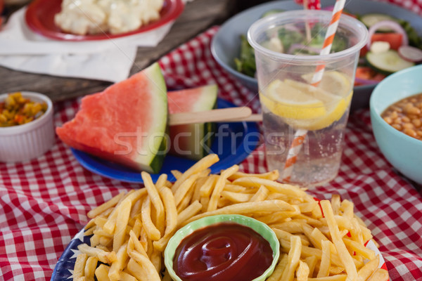 Snacks and drink decorated with 4th july theme Stock photo © wavebreak_media