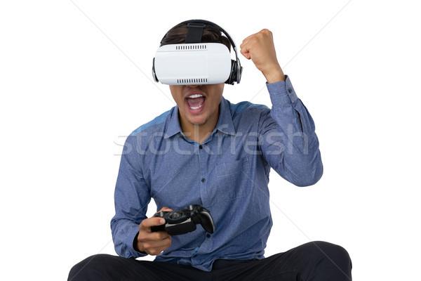 Empresario gafas jugando videojuegos blanco auriculares Foto stock © wavebreak_media