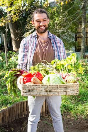 Heureux femme légumes frais panier légumes Photo stock © wavebreak_media
