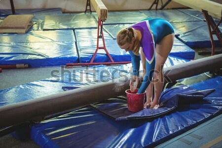 肖像 十代の少女 岩クライミング フィットネス スタジオ ストックフォト © wavebreak_media