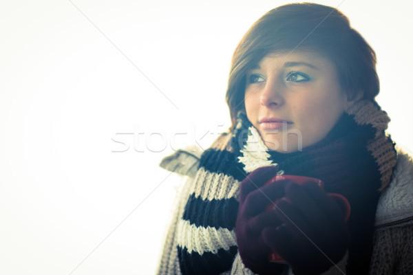 Vonzó nő visel meleg ruházat stúdió nő Stock fotó © wavebreak_media