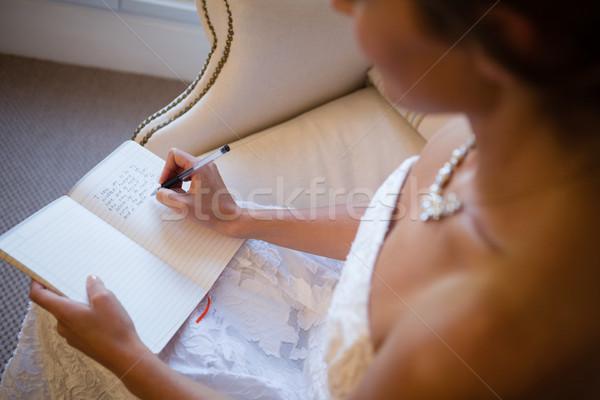 Magasról fotózva kilátás gyönyörű menyasszony ír napló Stock fotó © wavebreak_media