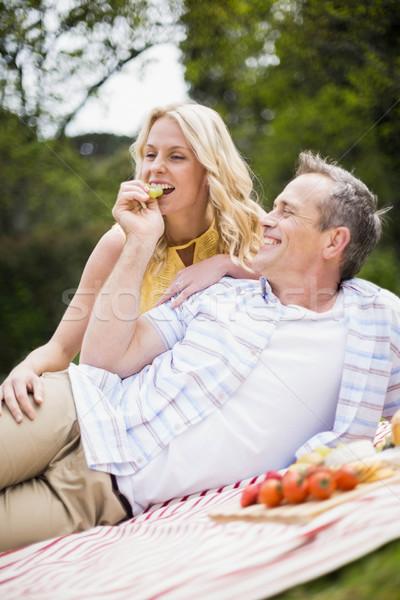 Szczęśliwy para piknik na zewnątrz kobieta drzewo Zdjęcia stock © wavebreak_media