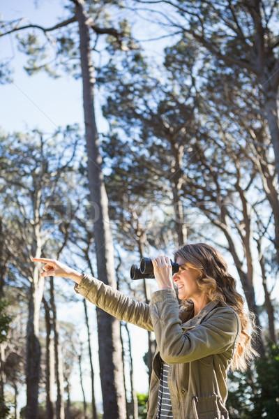 Nő látcső erdő égbolt fa kéz Stock fotó © wavebreak_media