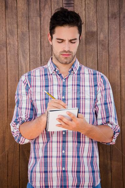 Férfi ír napló fiatalember fából készült jegyzet Stock fotó © wavebreak_media