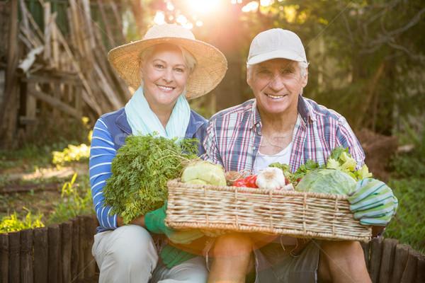 Portrait of mature couple carrying vegetables crate at garden Stock photo © wavebreak_media