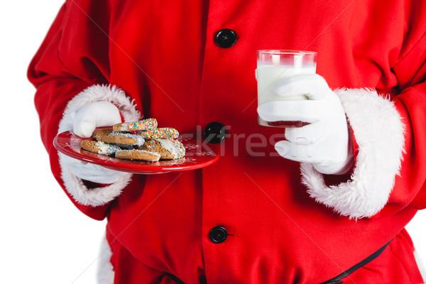 サンタクロース ガラス ミルク クッキー ストックフォト © wavebreak_media