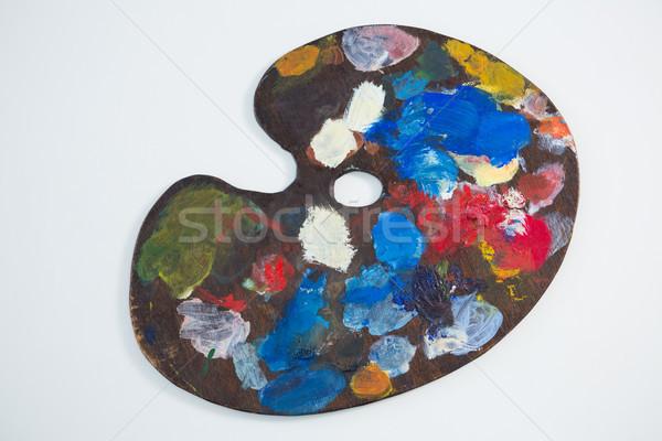 Fából készült paletta különböző vízfesték fa oktatás Stock fotó © wavebreak_media
