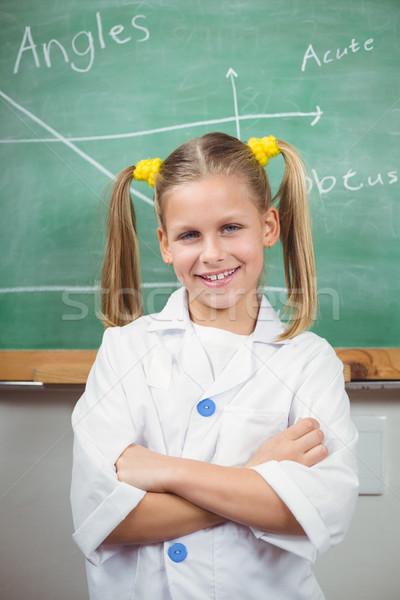 Cute sarrau tableau fille école heureux Photo stock © wavebreak_media