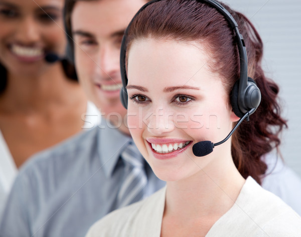 Stock photo: International customer service representatives standing in a lin