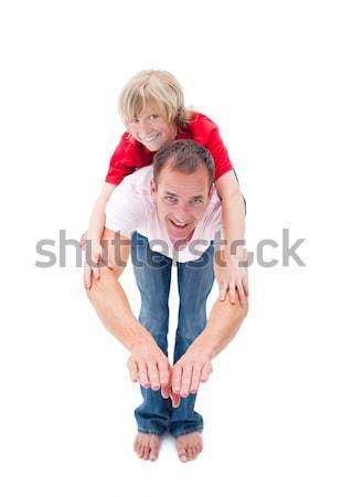 Mosolyog kicsi fiú élvezi háton apa Stock fotó © wavebreak_media