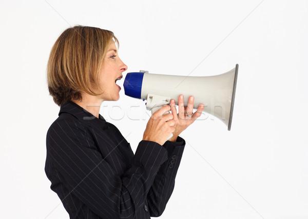 Profiel zakenvrouw megafoon gezicht spreker Stockfoto © wavebreak_media